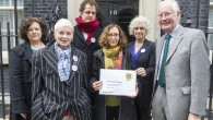England, UK . 11.11.2014. London . Downing Street. Open letter handed in from 57 million Americans warning Brits of the dangers of GM food and farming.